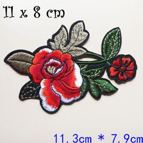 11 x 8 cm APPLIQUE ÉCUSSON PATCH THERMOCOLLANT C102 FLEUR ROSE ROUGE BLANC