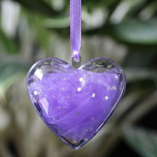 5-50X Clear Plastic Wedding Ball Heart Baubles Hanging Christmas Bauble Fillable