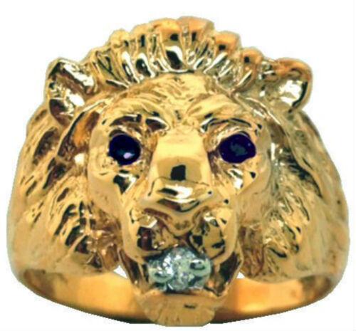 Homme Bague Lion Tête Diamant /& Saphir Argent Sterling Ou Argent Plaqué Or