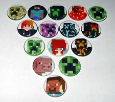 "Lot of (15) Game Characters ""Minecraft"" 1"" Button Pins Great Party Favors"