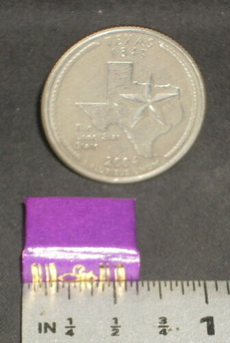 1 PUR Library School Doll Miniature Books Book PURPLE Gold Embossed 1:12 #P1006
