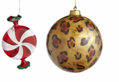 PIER ONE IMPORTS CHRISTMAS ORNAMENTS U CHOOSE ANIMAL PRINT OR GLASS NEW WITH TAG
