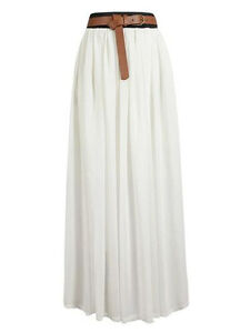 white chiffon maxi skirt pleated retro