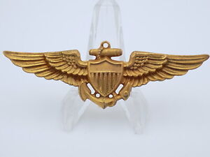Original-WWII-US-Navy-Naval-Aviator-Pilot-Wings-Gilt-Brass-NS-Meyer