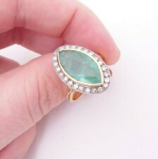 18ct gold marquise cut large Emerald diamond ring, art deco design cluster