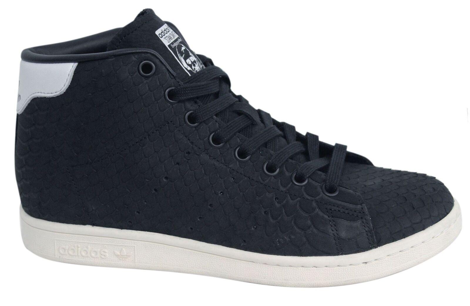 Adidas De Originals Stan Smith Mid Mujer Encaje Entrenadores De Adidas Cuero Negro BB4863 M15 f4d5c9