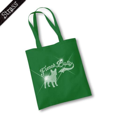 Jutebeutel Beutel Einkaufstasche Shopper Strass Hund Französische Bulldogge M1