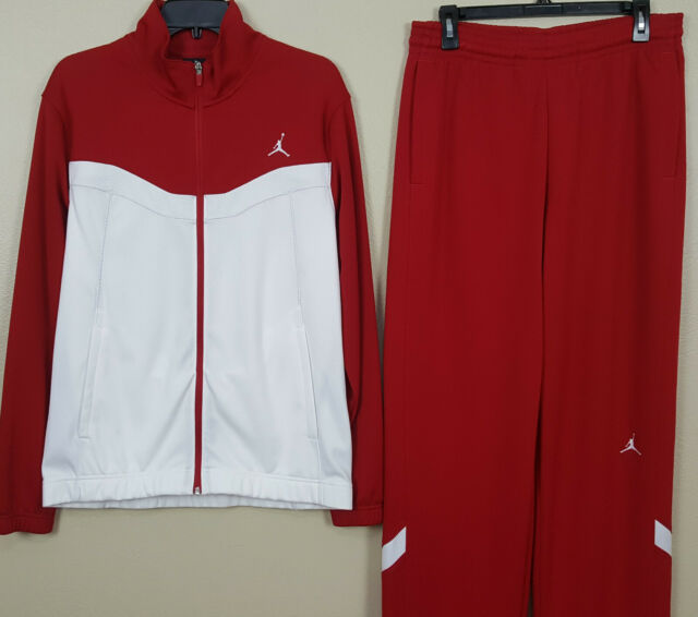 NIKE AIR JORDAN DRI-FIT BASKETBALL SUIT JACKET + PANTS RED WHITE (SIZE MEDIUM)