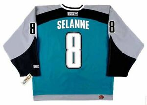 check out 562a9 3607c Details about TEEMU SELANNE San Jose Sharks 2002 CCM Throwback Home NHL  Hockey Jersey