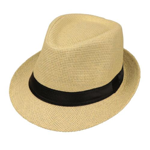 Classic Paille Trilby Fedora Chapeau Large Courbé Bord Armure Sun Cap Cowboy coiffure