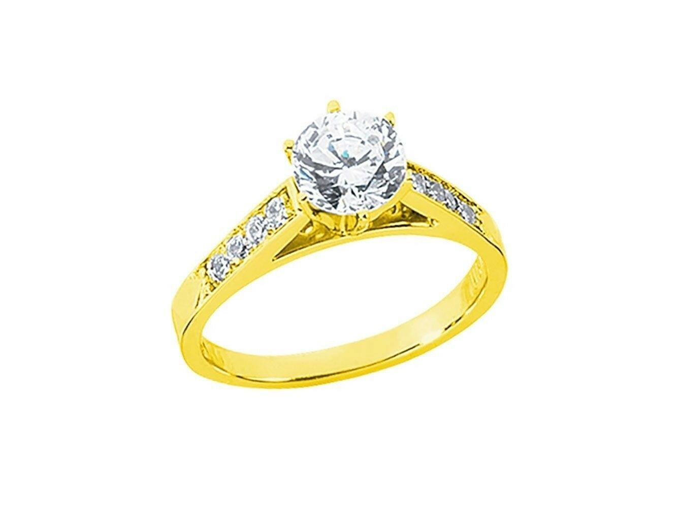 0.70Ct Round Cut Diamond Cathedral Engagement Ring Solid 14k gold I SI2