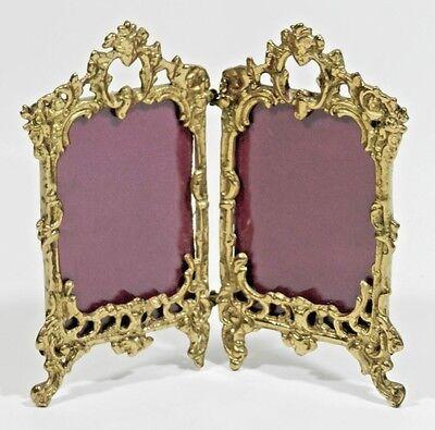 Antique Bronze Double Picture Photo Frame Rococo