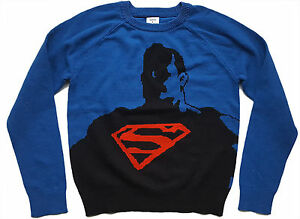 JUNK-FOOD-KIDS-GAP-Boys-BLUE-Knitted-Marvel-Superman-Jumper-Top-4-16y-24-95