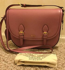 baba5628b8 NWT RALPH LAUREN LEATHER TATE PINK DECO ROSE CROSSBODY HANDBAG PURSE ...