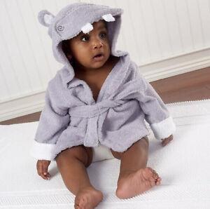 Image is loading New-Animal-Cartoon-Baby-Kids-Hooded-Blanket-Bathrobe- 96f6b2272