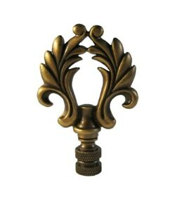 Highly detailed metal casting Lamp Finial-ORNAMENTAL LOOP-Aged Brass Finish