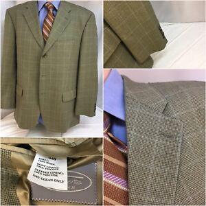 Talbot-s-Blazer-42S-Tan-Plaid-Wool-3b-42-S-Made-Portugal-Mint-YGI-B8-273