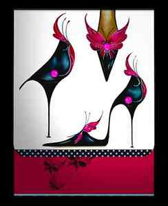 Maranda TI Noir Glamour Zapato Diseño con Cristales práctico bolso de mano portátil de mensaje