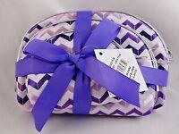 Cosmetic Bags Set Three Sizes Shades Purple White Zigzag Chevron Design Travel