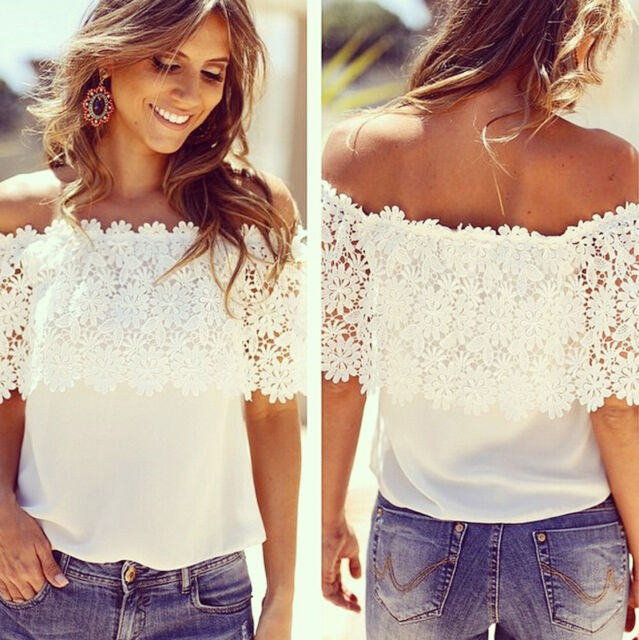 New Women Sexy Off Shoulder Casual Tops Blouse Lace Crochet Chiffon Shirt