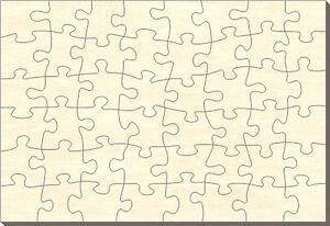 Puzzle rectangle en bois blanc, 48 pièces, 56x38 cm, pour auto-peinture