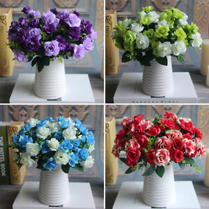 15 heads silk flowers bouquet artificial rose wedding