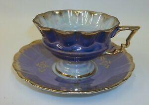 Vintage-Fan-Crest-Japan-Cup-Saucer-Set-Iridescent-Blue-Gold