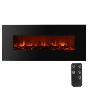 Electric-Fireplace-Black-50-034-Wall-Mount-Heater-flame-W-Adjustable-Heating-New