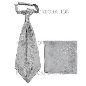 New Vesuvio Napoli Men's Polyester Ascot Cravat Necktie Hankie Paisley Silver