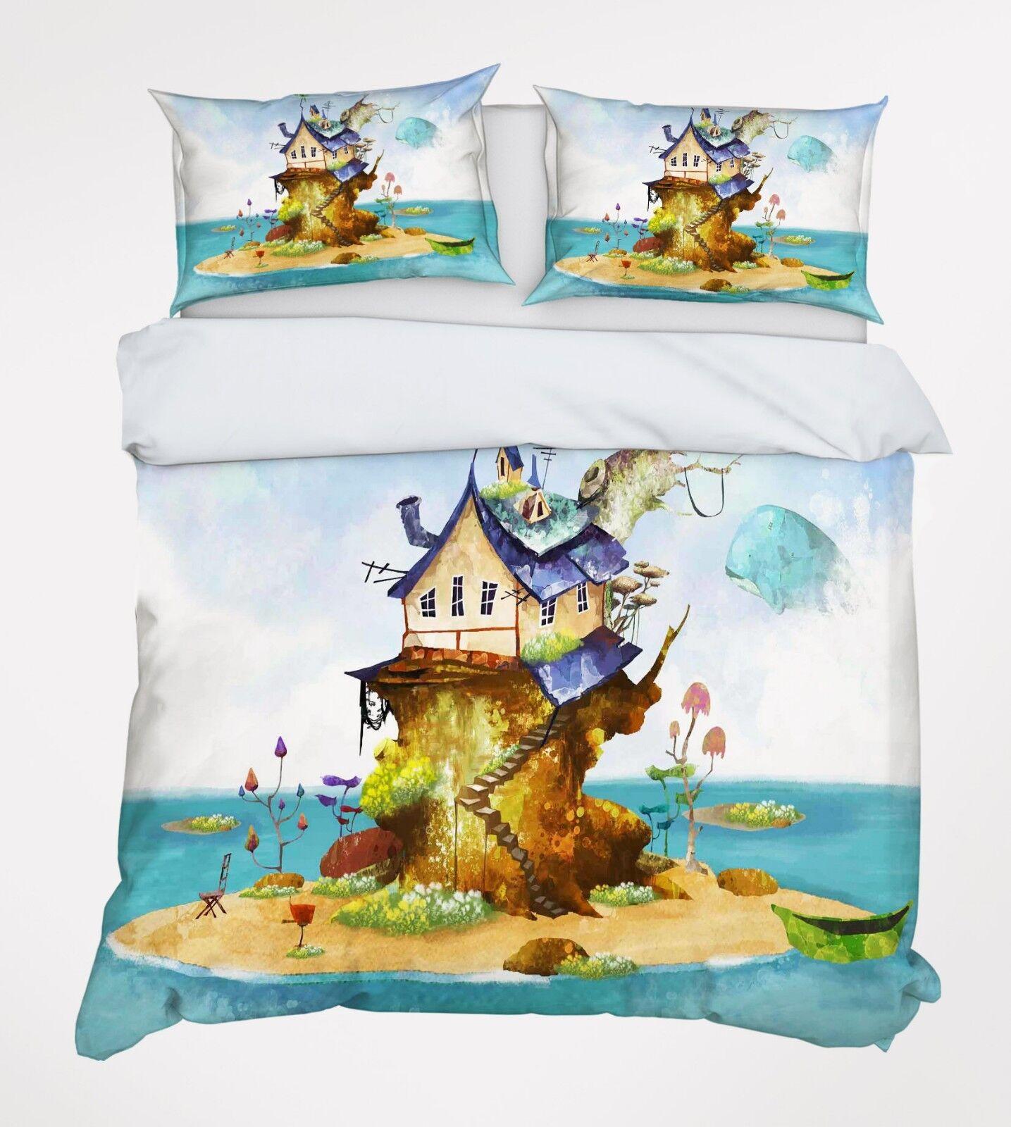3D Kids Island Sea 7 Bed Pillowcases Quilt Duvet Cover Set Single Queen AU Carly