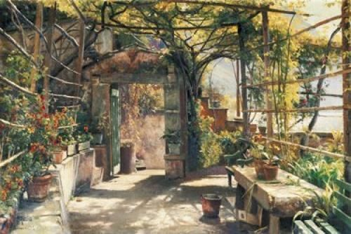 Monsted  in the pergola jardin Bower tableau prêt 60x80 Tableau mural