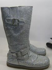 silver Rhinestone winter mid-calf boot  fur on top/inside side Button .Size.  8