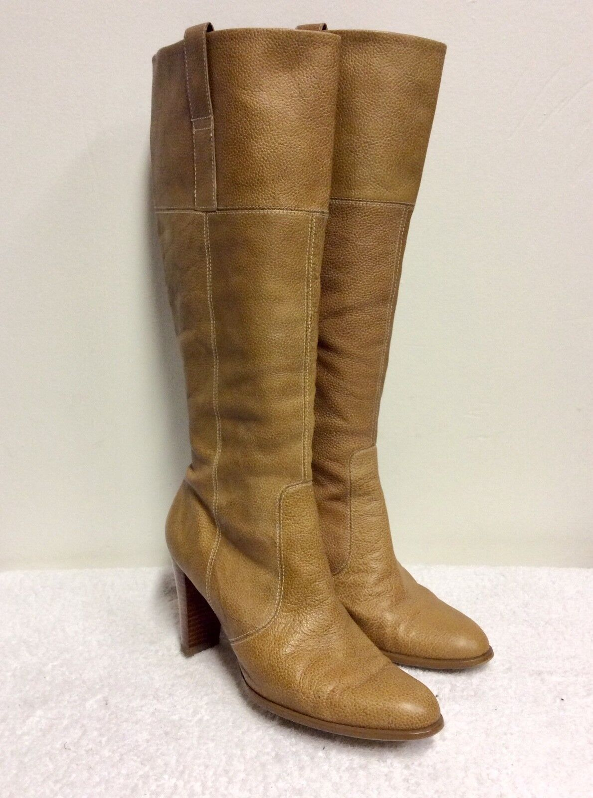 MARKS & SPENCER CAMEL TAN LEATHER KNEE LENGTH BOOTS SIZE 7 40.5