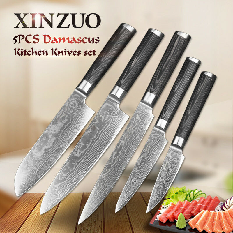 Knife Set 67 Layers Damascus Steel Chef Kitchen Knives Sashimi Sushi Slicing Cut
