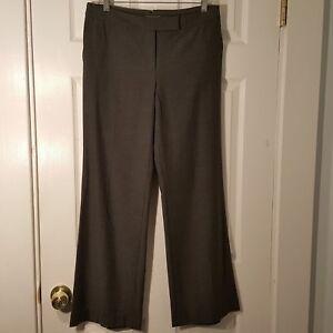 Womens Size 6P 6 Petite ANN TAYLOR Gray wide leg Dress Pants Slacks Buckle Back