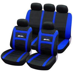 universal sitzbez ge f r auto schonbezug komplettset schwarz blau scsc0095 ebay. Black Bedroom Furniture Sets. Home Design Ideas