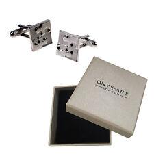 Mens Silver Jigsaw Puzzle Cufflinks & Gift Box By Onyx Art