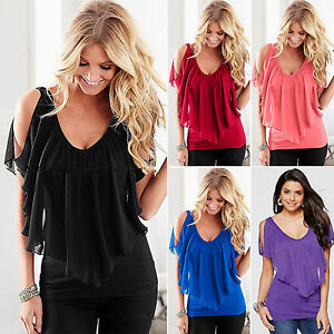 Damen-Chiffon-Bluse-T-Shirt-Tunika-Top-Sommer-Batwing-Fledermaus-Blusen-Oberteil