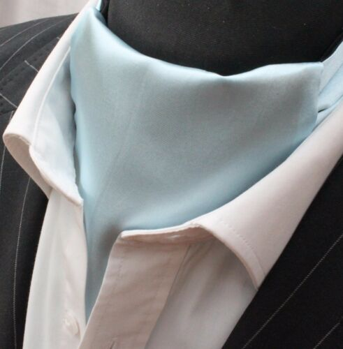 Hanky SILKY LIGHT BLUE SATIN UK MADE Cravat Ascot