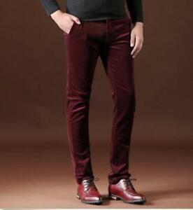 New-Fashion-Mens-casual-slim-fit-corduroy-Velvet-Straight-long-pants-Trousers-US