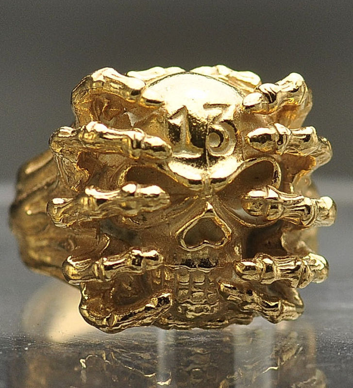 Skull Skeleton Number 13 Thirteen 24kt gold plated ring Free SHIPPING & SIZING