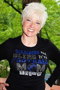 Football Mom Rhinestone glitter shirt XS S M L XL XXL 1X 2X 3X 4X 5X blue