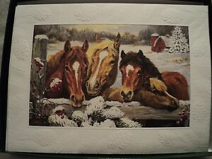 Leanin-Tree-034-PONIES-AT-THE-FENCE-034-EMBOSSED-CARDS-Set-of-12-Boxed