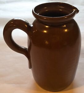 Large-8-034-Bybee-Kentucky-Pottery-Pitcher-Brown-Vintage-NO-LID