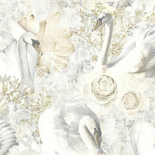 Glitter Swans Wallpaper White Beige Silver Damask Floral Textured Cygnet Holden