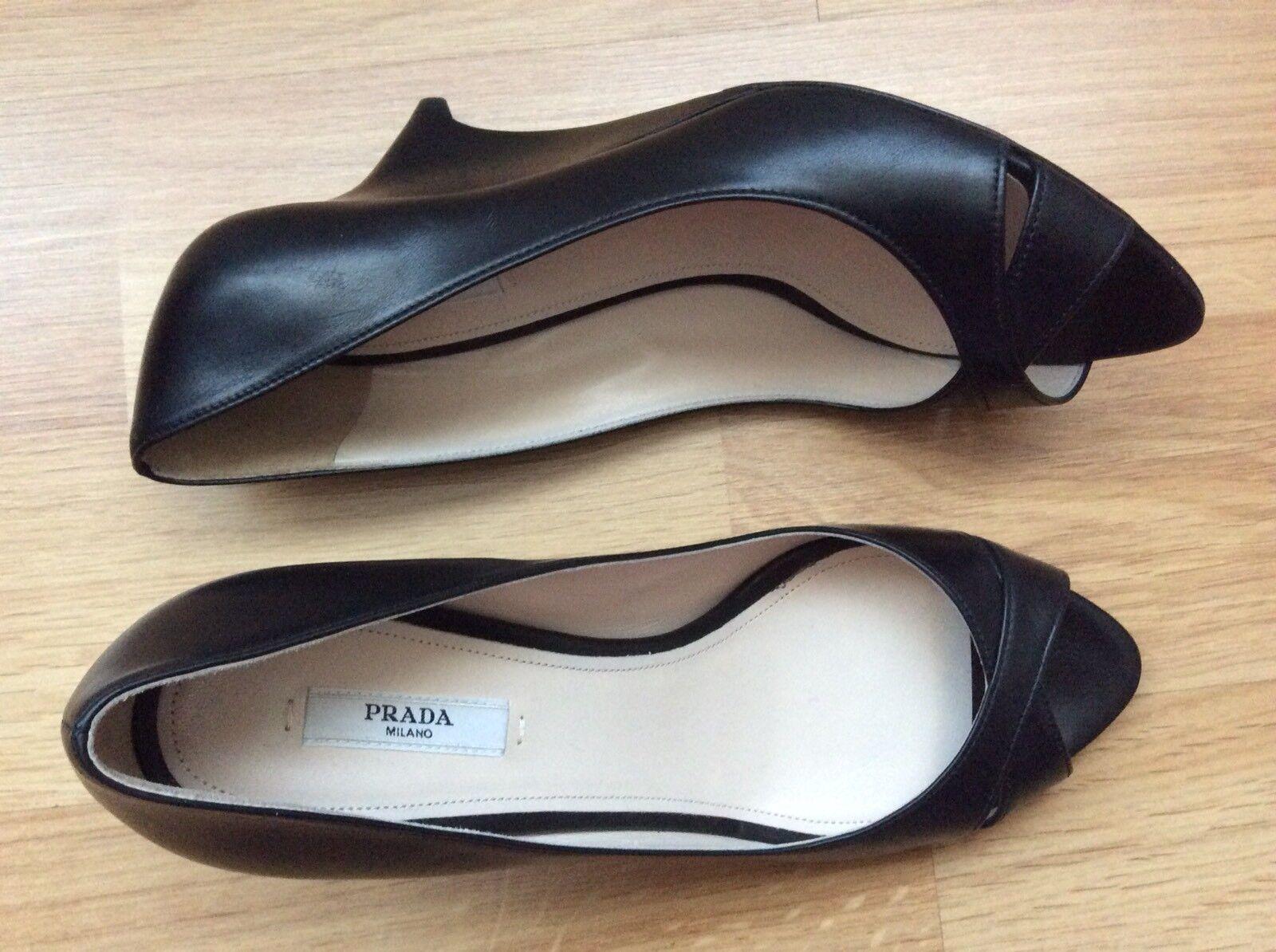 NUOVO Prada Milano in  pelle nera Peep Toe Wedges Heels Pumps Dimensione 39 Made in   fino al 60% di sconto