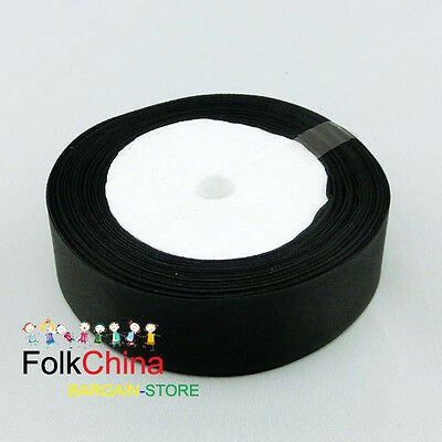 Black Double Sided Satin Ribbons 20Yds Per Roll Sewing 10mm,12mm,15mm,24mm #39