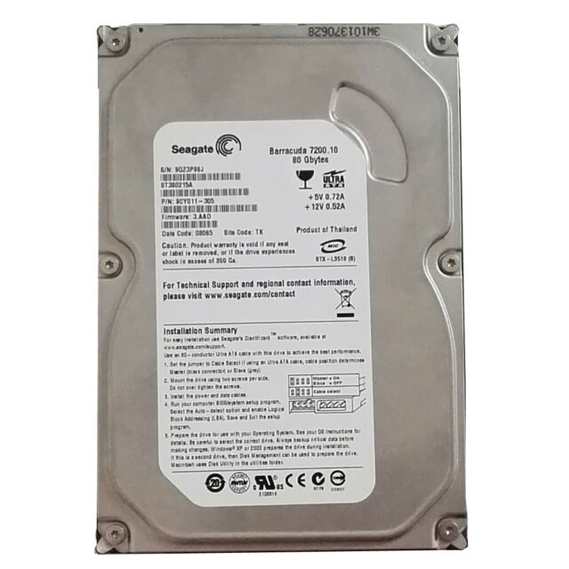 "Seagate Barracuda ST380215A 80GB IDE PATA Internal Hard Drive 3.5"" Desktop HDD"