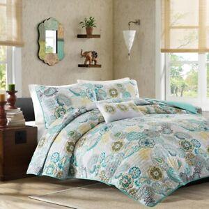 NIB-Full-Queen-Mi-Zone-Asha-Teal-Gray-Quilt-Set-4-items-Quilt-Pillow-2-Shams