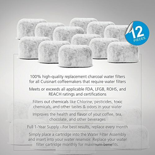 Pack of 12 Replacement Charcoal Water Filters for Cuisinart Coffee Machines
